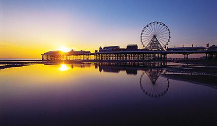 Blackpool Beach at sunset